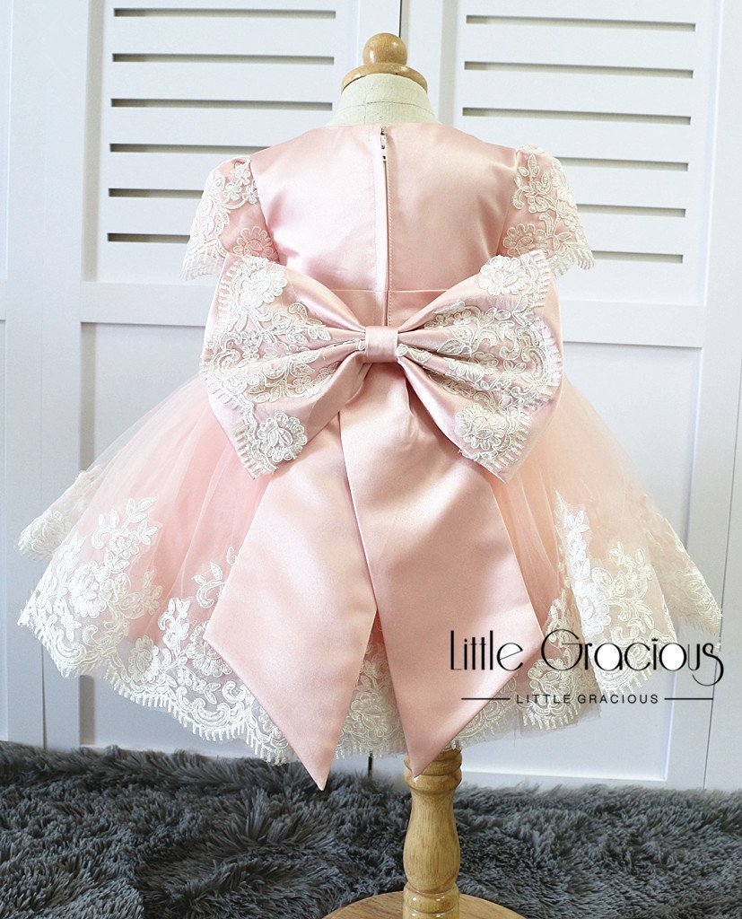 Rachel Dress Pageant Dress, Flower Girl Dress, Misty Pink Dress, Thanksgiving Dress LG013