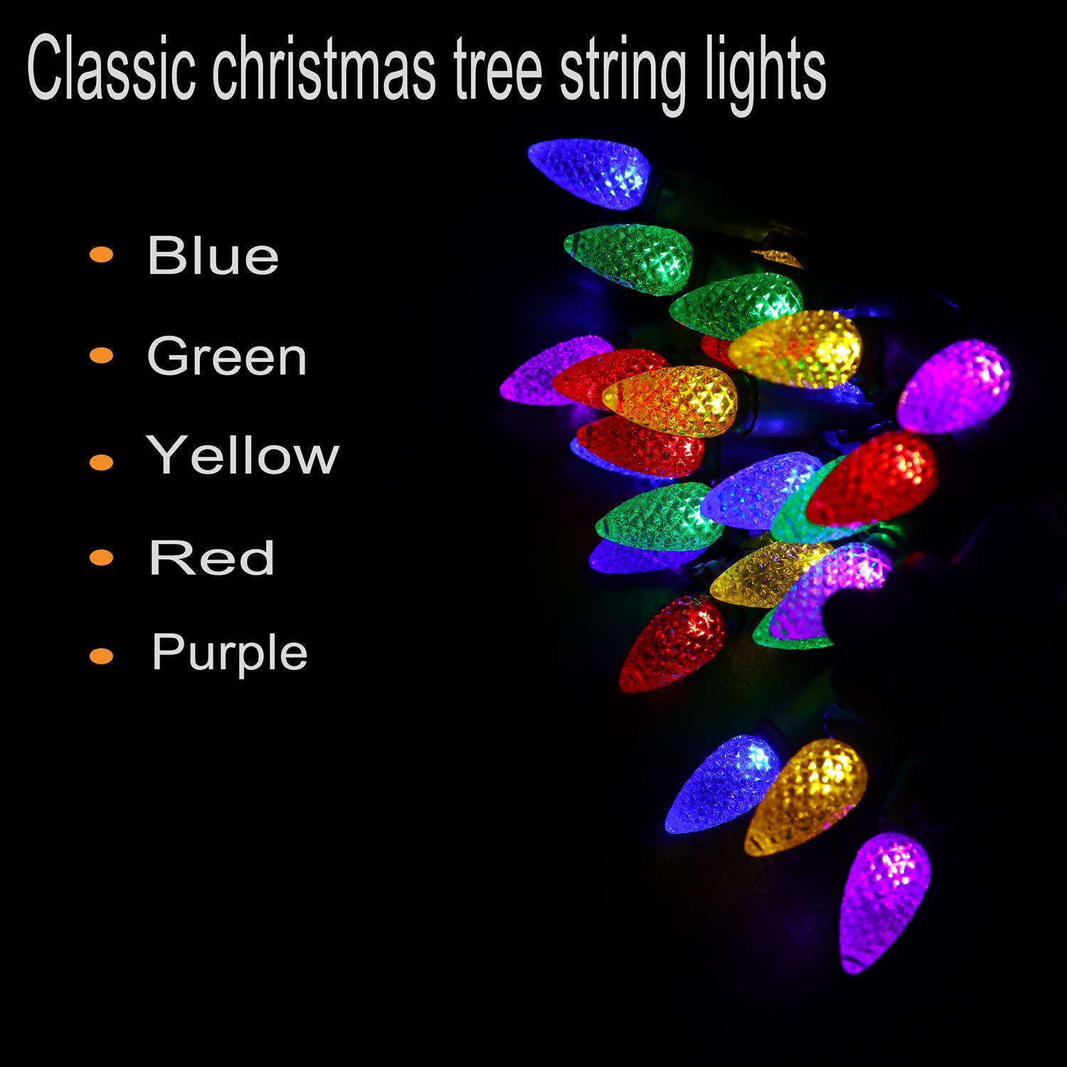 Vanrayal Upgrade C3 Christmas Tree Lights End To Led Light Circuit Diagram Together With Cat 5 Cable Wiring Plug 50 18ft Outdoor String Multicolor For Patio Garden Green Wire Ul List