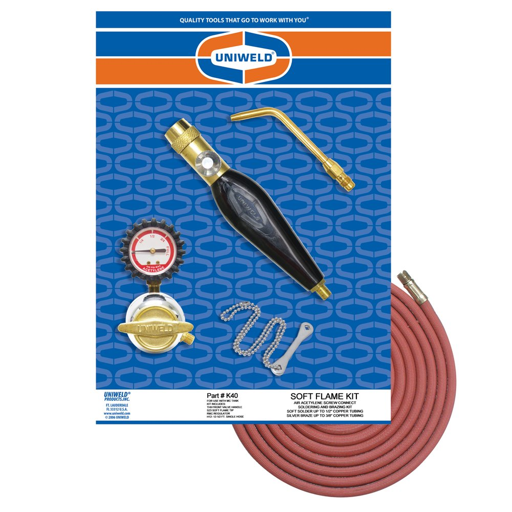 Uniweld K40 Air/Acetylene Soft Flame Kit for MC Tank with TH9 Handle and S23 Screw Connect Tip Uniweld Products Inc.