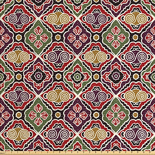 Ambesonne Japanese Fabric by the Yard, Traditional Antique Motifs Eastern Exotic Pattern Asian Accents Vintage Oriental, Decorative Fabric for Upholstery and Home Accents, Multicolor from Ambesonne