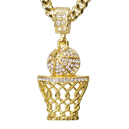Metaltree98 hip hop iced out 14k gold plated mini basketball rim metaltree98 hip hop iced out 14k gold plated mini basketball rim pendant 24quot cuban link aloadofball Image collections