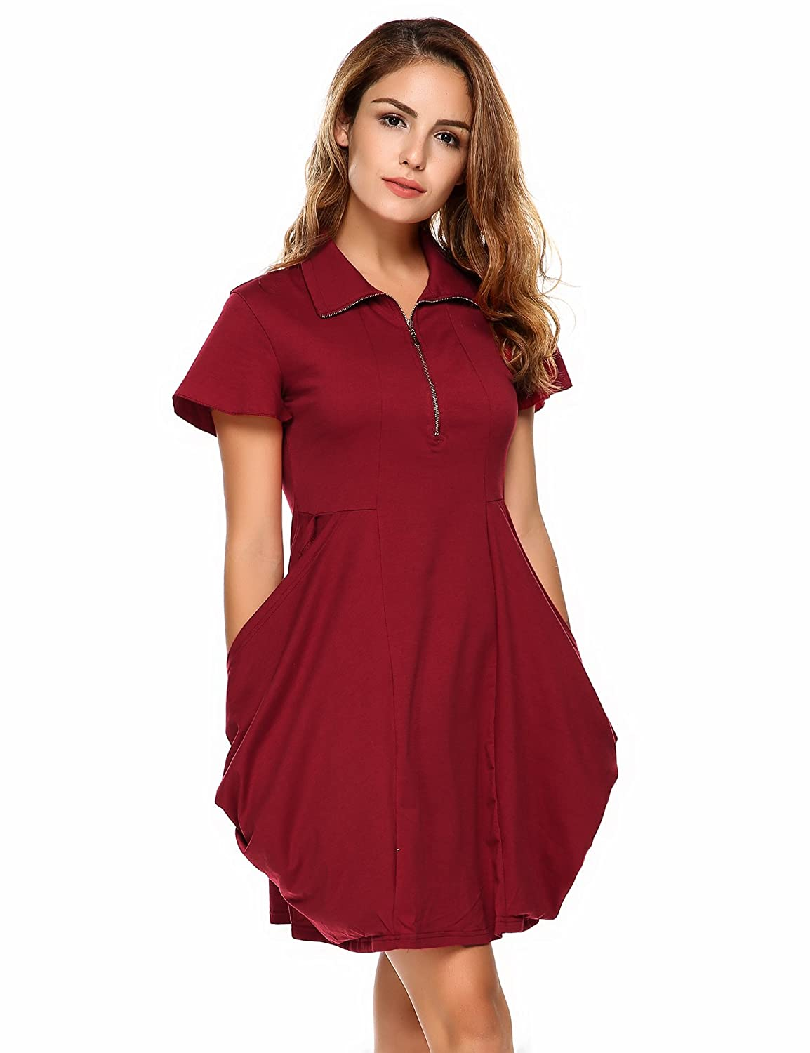 ccaefdfed257 Meaneor Womens Short Sleeve Casual Swing T Shirt Dress with Pockets 100%  Cotton at Amazon Women s Clothing store