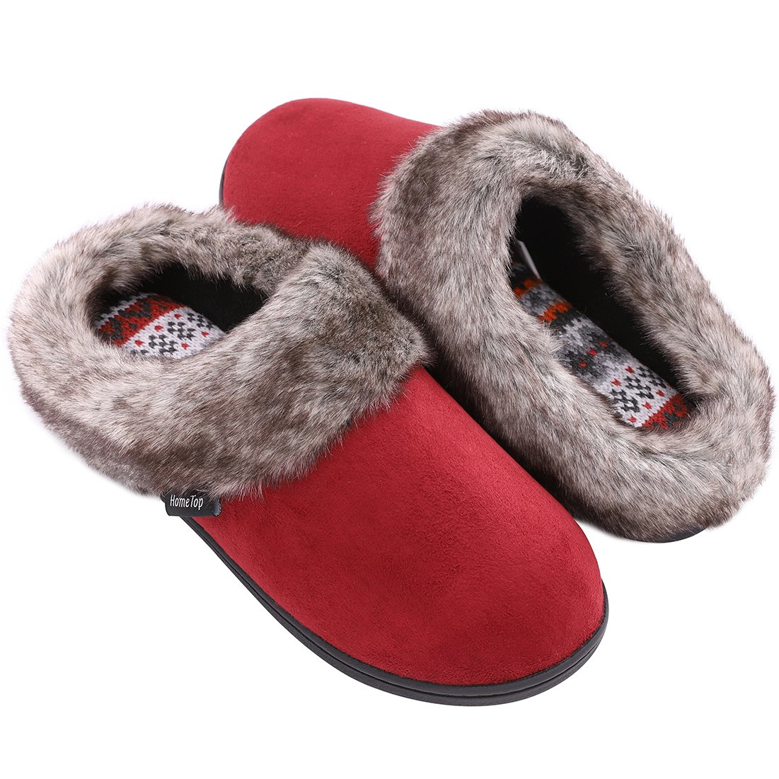 c1d923bd0 Ladies' Furry Memory Foam Slippers Micro Suede Faux Fur House Shoes with  Yarn Knit Lining