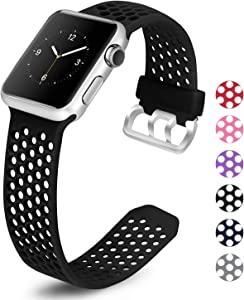 Mosstek Compatible with Apple Watch Band 38mm 40mm 42mm 44mm, Sport Silicone Breathable Replacement Bands Compatible with iWatch Apple Watch Series 6 5 4 3 2 1 SE for Men Women