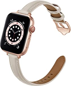 OUHENG Compatible with Apple Watch Bands 40mm 38mm 44mm 42mm, Women Slim Thin Genuine Leather Replacement Strap for iWatch SE Series 6 5 4 3 2 1 (Ivory White/Rose Gold, 40mm 38mm)