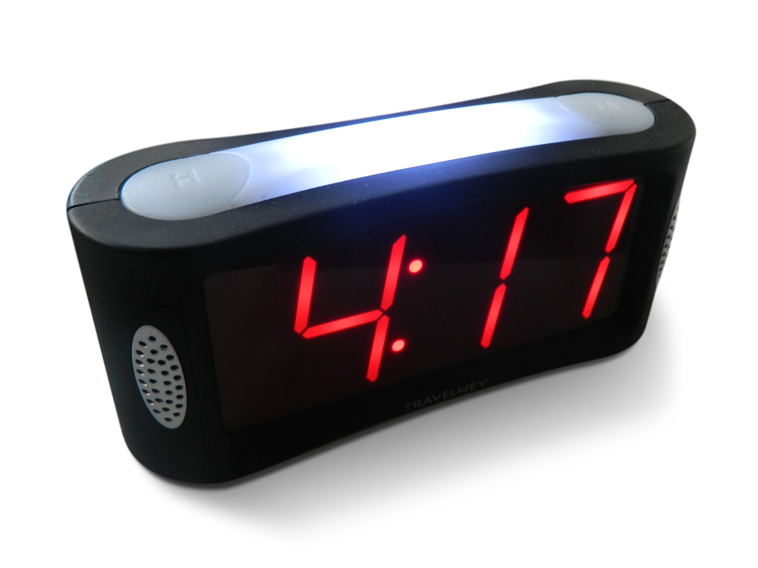 Travelwey Home LED Clock-Outlet Powered, No Frills Simple Operation, Large Night Light, Loud Alarm, Snooze, Full Range Brightness Dimmer, Big Red Digit D Display, Black by Travelwey
