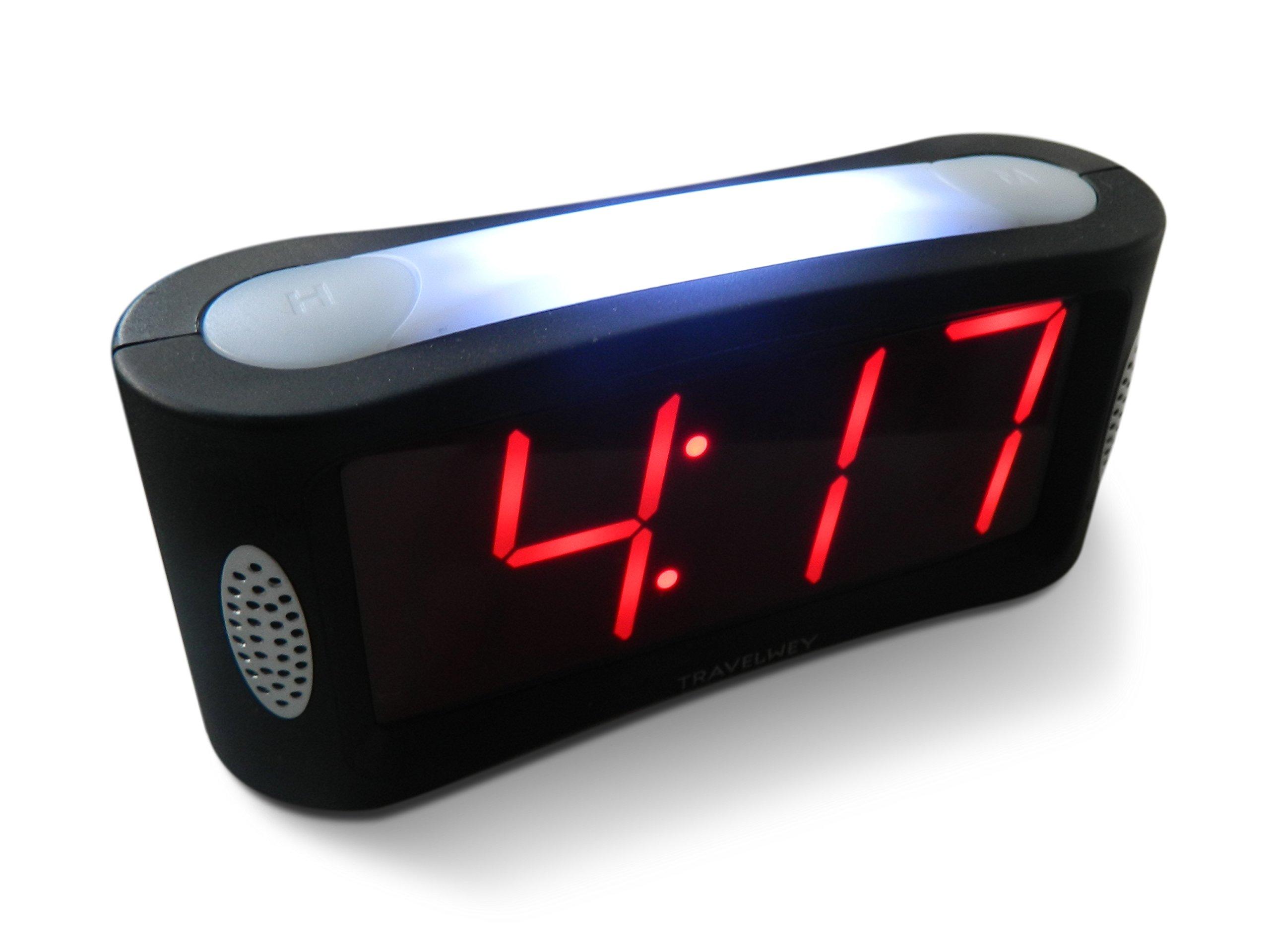 Travelwey Home LED Clock-Outlet Powered, No Frills Simple Operation, Large Night Light, Loud Alarm, Snooze, Full Range Brightness Dimmer, Big Red Digit D Display, Black