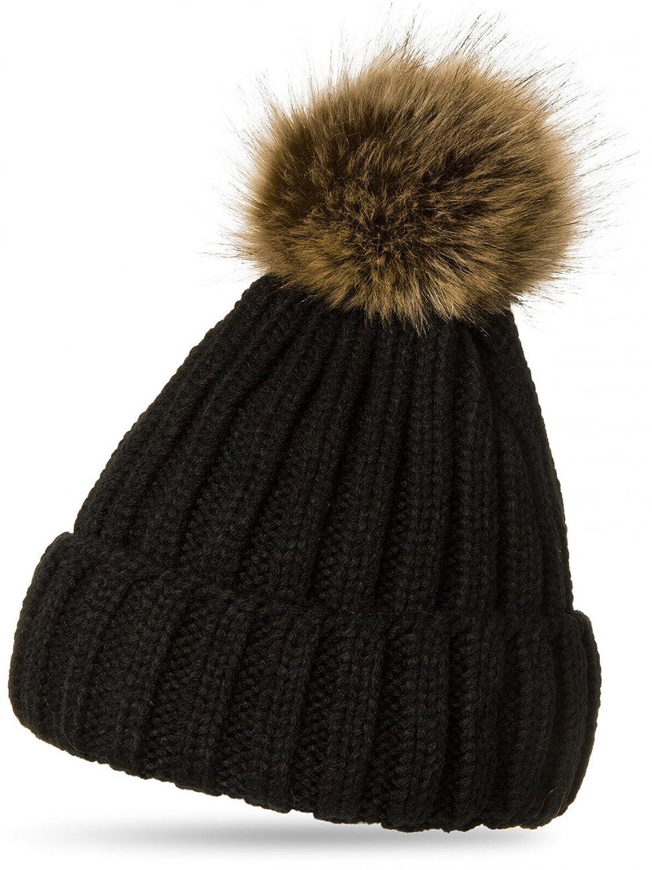 CASPAR MU054 Damen Winter Strickmütze mit großem Fellbommel