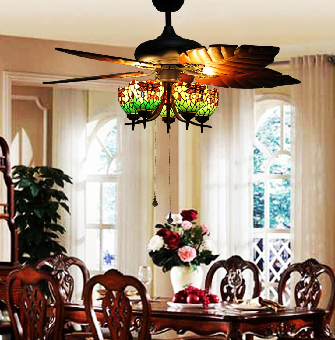 Makenier Vintage Tiffany Style Stained Glass 5 Light Dragonfly Uplight Lampshade Ceiling Fan Kit With Banana Leaf Shaped Blades
