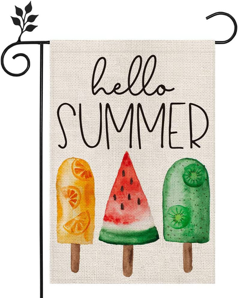 CROWNED BEAUTY Hello Summer Ice Cream Garden Flag 12×18 Inch Double Sided Vertical Yard Outdoor Decoration CF157-12