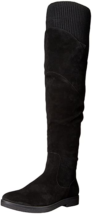 Nine West Women's Alaine Suede Over-The-Knee Boot, Black, 7.5 M US