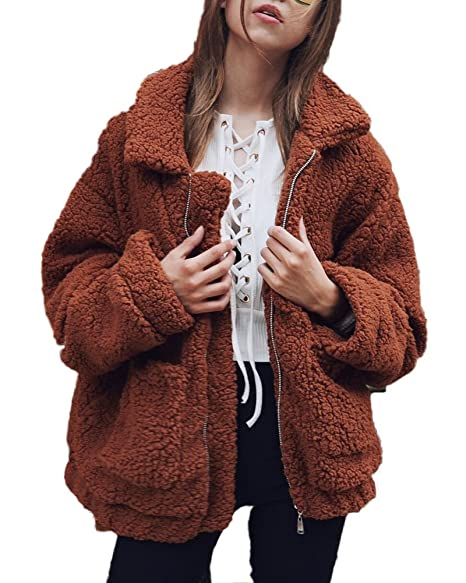 Shallgood Damen Mantel Plüschjacke Winter Winterjacke Steppjacke Warmen Outwear Reißverschluss Lange Ärmel Einfarbig Sexy Par