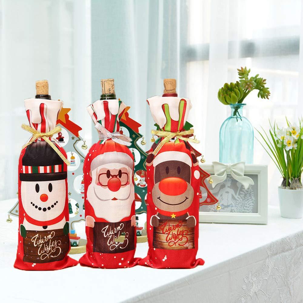 Live with Love Bottiglie di Sacchetti Regalo di Natale 3 Pezzi con Babbo Natale Pupazzo di Neve e alci Perfetto per Vino spumanti liquori, Rosso DL Newtech