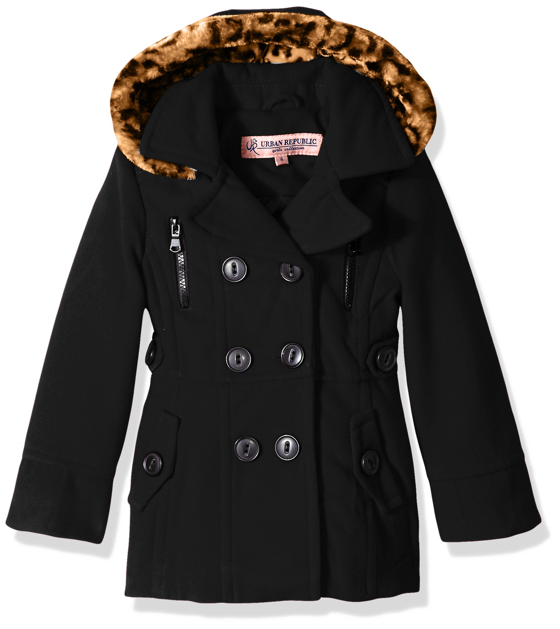 Urban Republic Big Girls' Ur Wool Jacket, Black 5815AB, 16 by Urban Republic