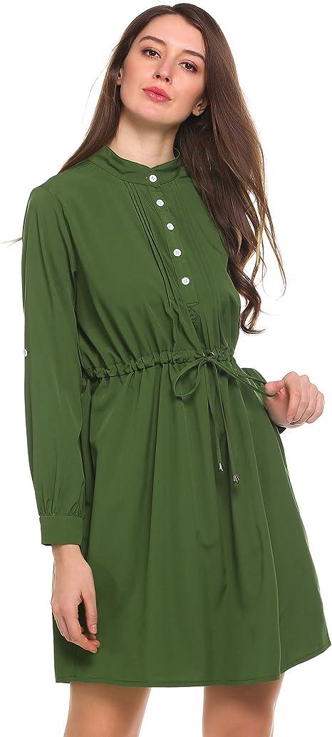 Beyove Damen Elegant Asymmetrisches Kleid Blusenkleid Hemdkleid Minikleid Longshirt V Ausschnitt Langarm Casual Party