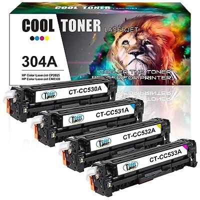 Cool Toner Compatible Toner pour CC530A CC531A CC532A CC533A 304A Cartouche de Toner Compatible pour HP Color LaserJet CP2025 CP2025N CP2025DN CM2320 CM2320N MFP CM2320NF MFP CM2320FXI MFP, Noir - 3500 pages; Couleur - 2800 p