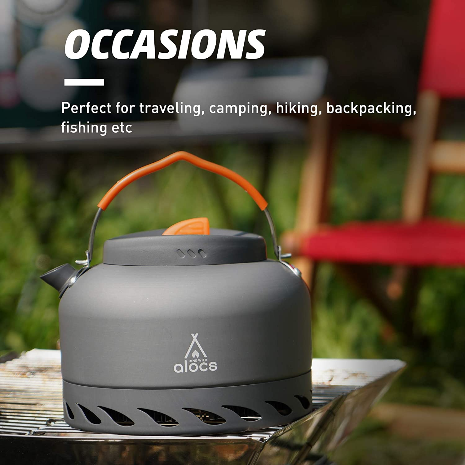 Alocs 1.3L Camping Kettle With Heat Exchanger Aluminum Portable Tea Kettle Compact Outdoor Hiking Camping Picnic Water Kettle Lightweight Teapot Coffee Pot