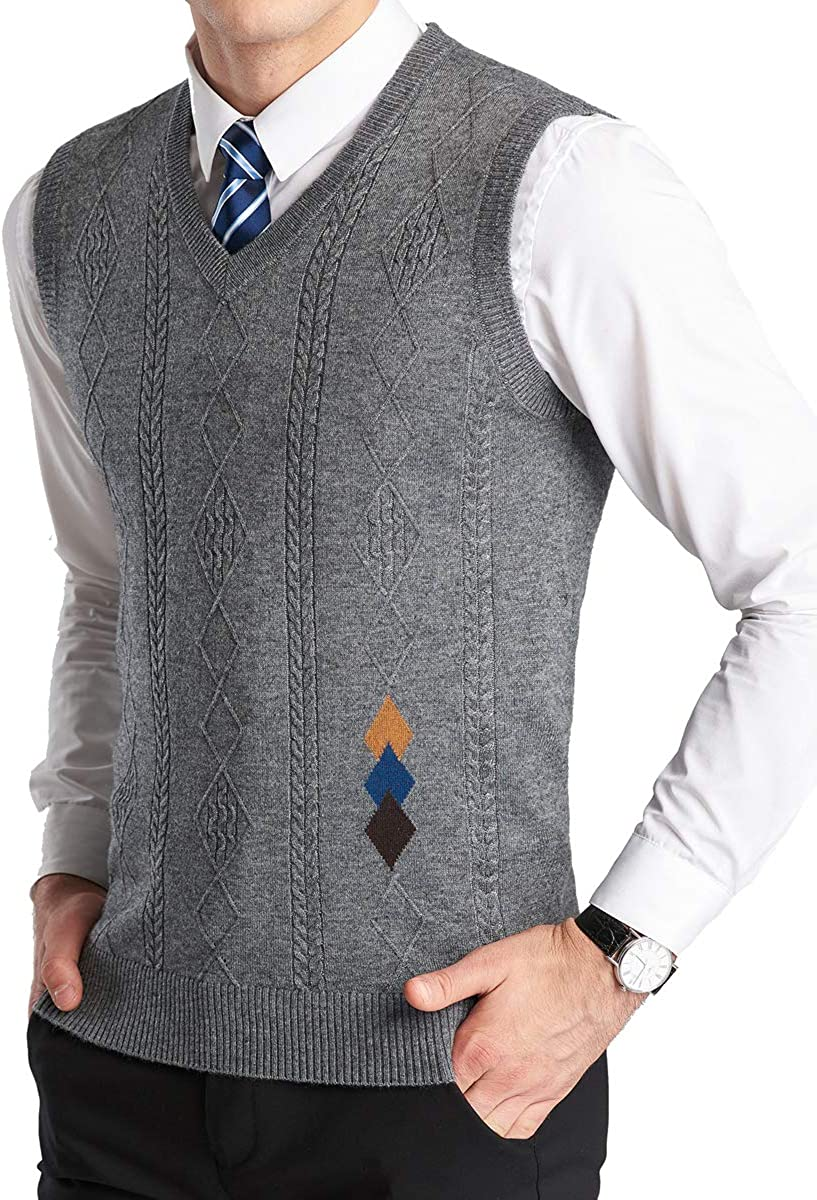 Men's Vintage Sweaters, Retro Jumpers 1920s to 1980s Yingqible Mens Casual Knitwear V-Neck Sleeveless Slim Fit Argyle Pullover Knitted Sweater Vest $22.99 AT vintagedancer.com
