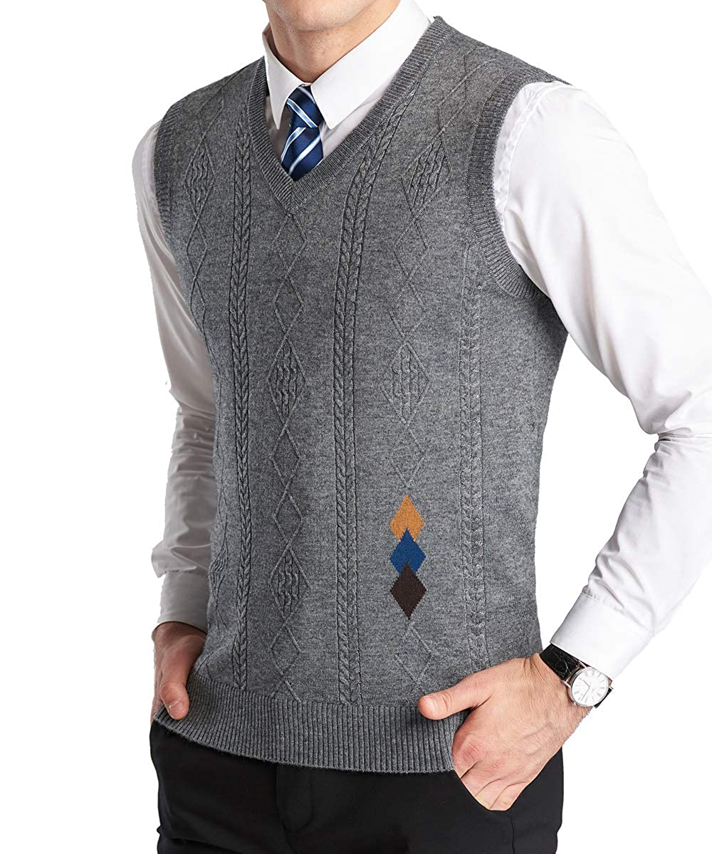 Men's Vintage Sweaters – 1920s to 1960s Retro Jumpers YinQ Mens Casual Golf Tank Top V-Neck Sleeveless Pullover Vest Slim Fit Kintted Sweater Vest $18.99 AT vintagedancer.com
