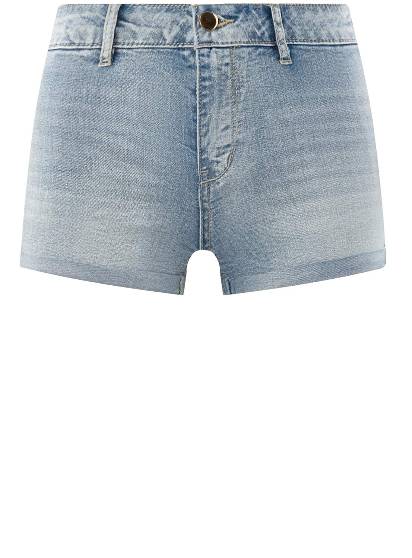 oodji Ultra Donna Shorts Basic in Jeans con Vita Alta