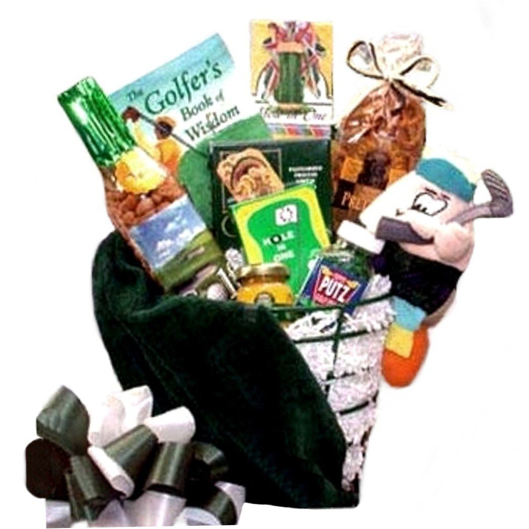 """Golfer's Caddy"" Gift Basket for Him - Makes a Great Gift for Golf Tournaments"