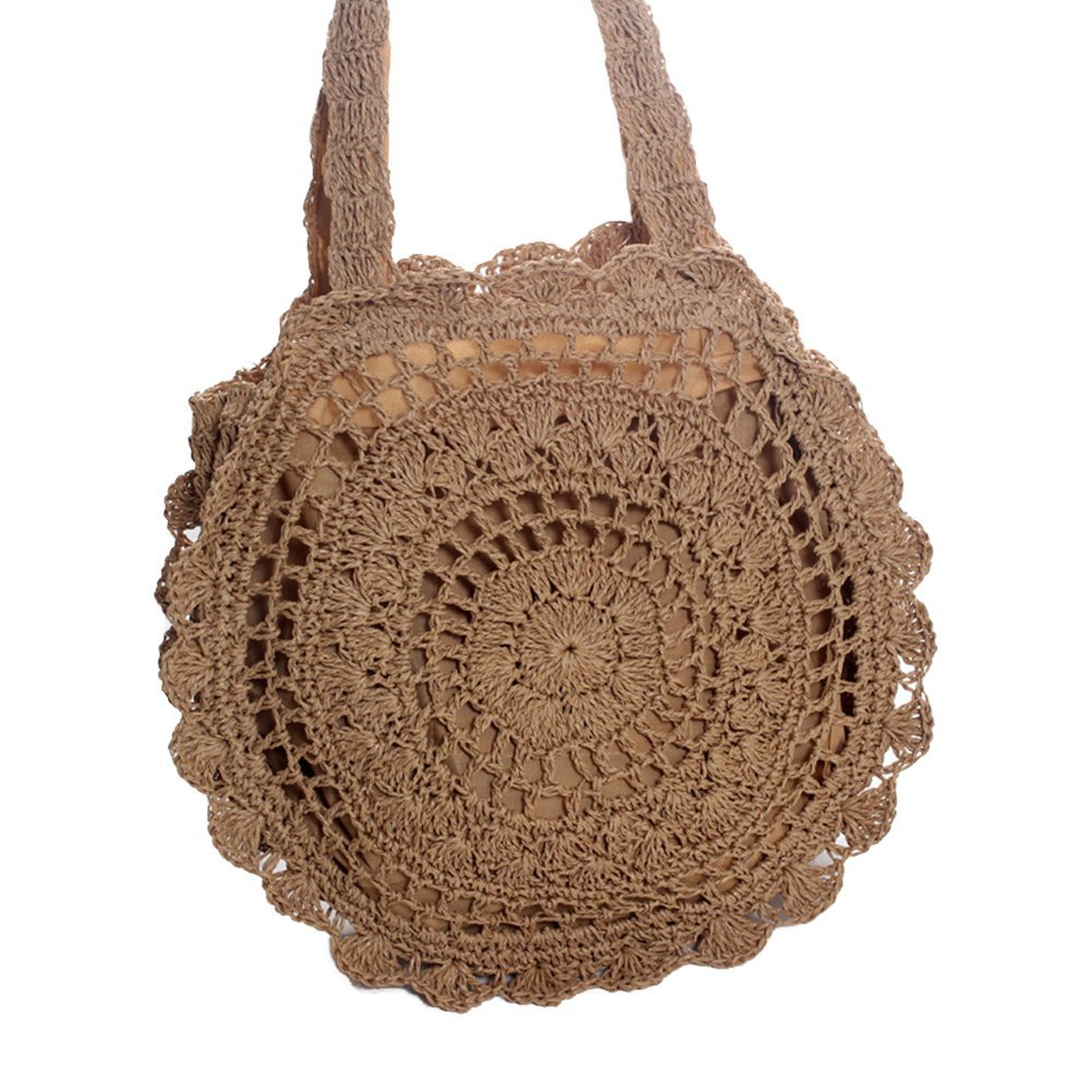 WDOIT Strohtaschen Damen Handtaschen Sommer Strohsack Crossbody Tasche Retro Schulterbeutel Freizeit Geflochten Strandtasche …