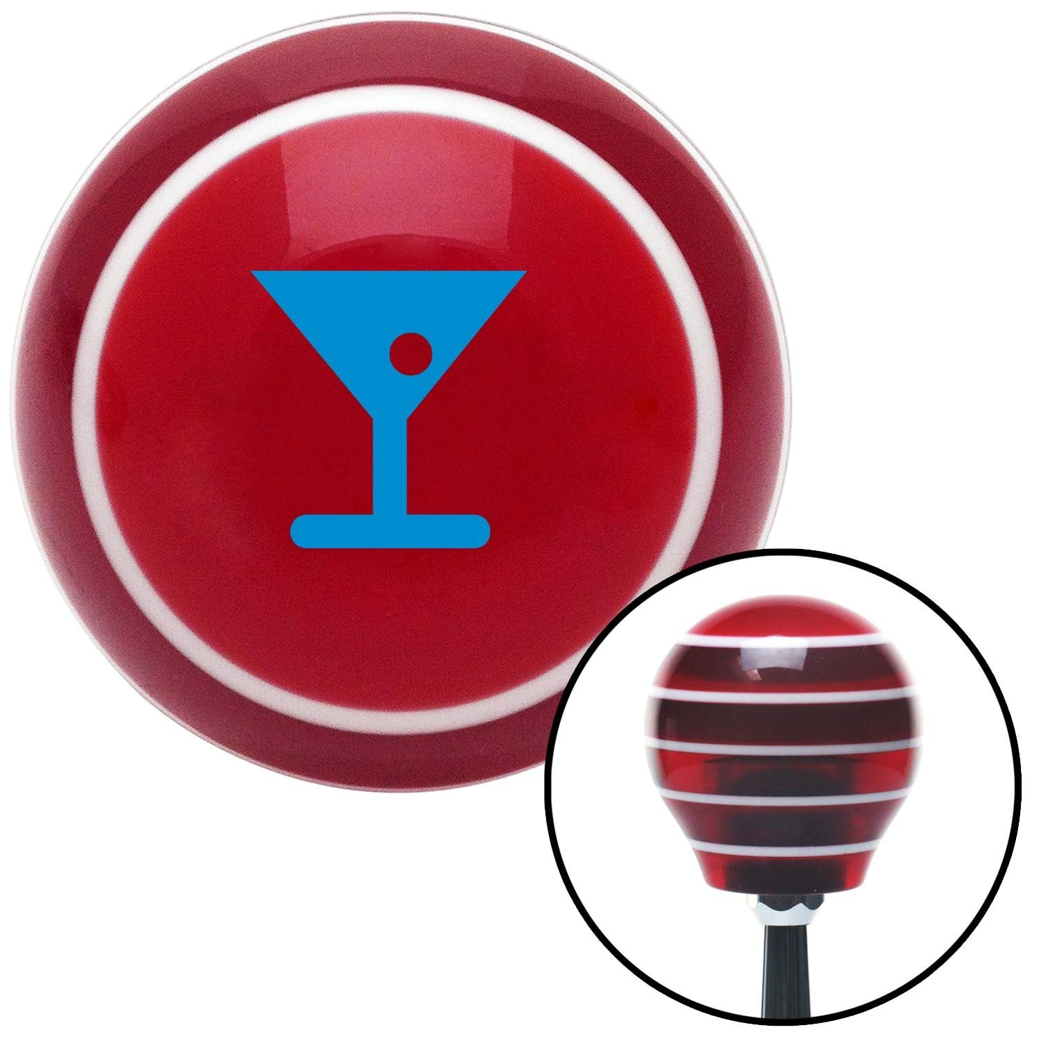 Blue Martini Glass w//Olive American Shifter 113050 Red Stripe Shift Knob with M16 x 1.5 Insert