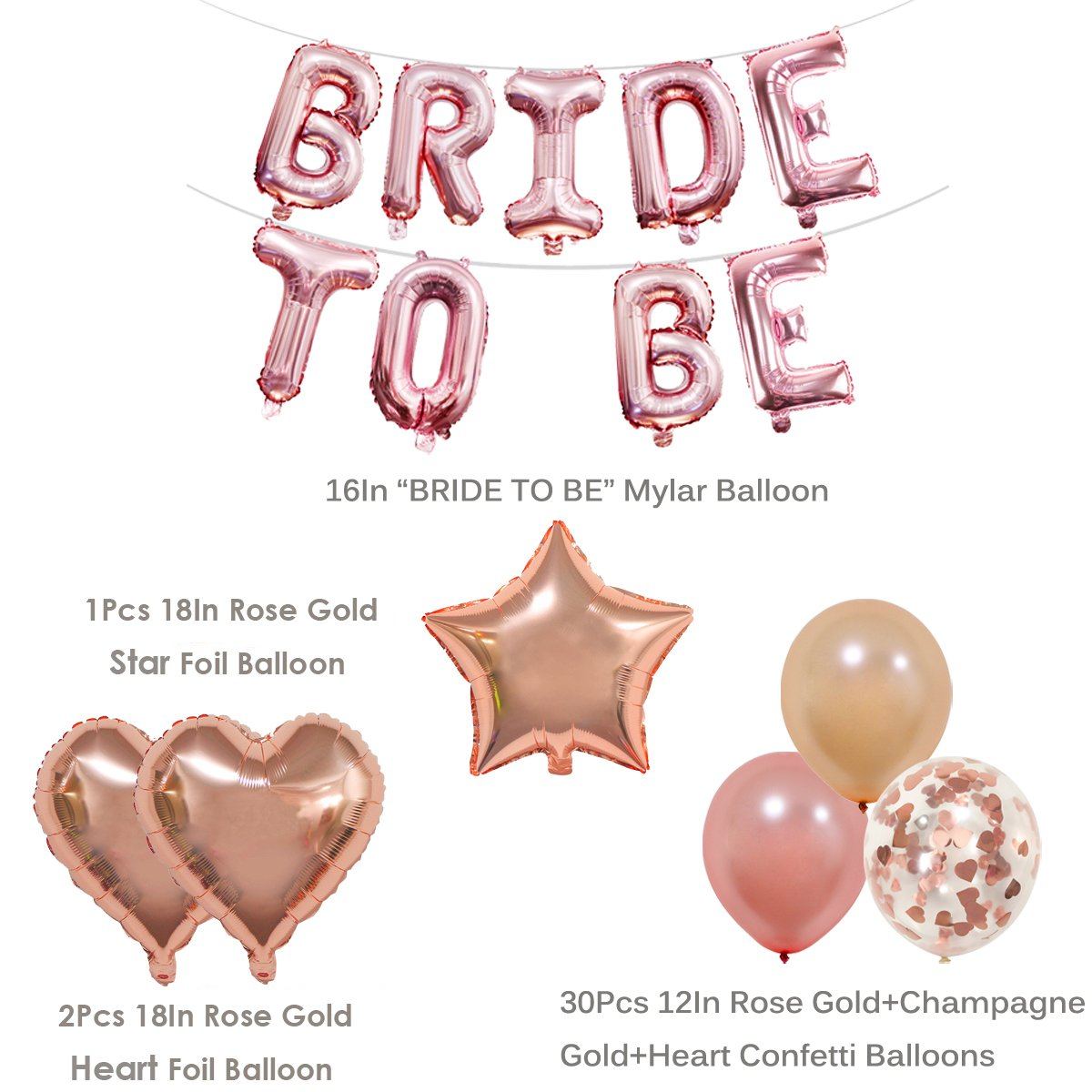 70908d217713 KUMEED BRIDE TO BE Balloons Banner Rose Gold 16