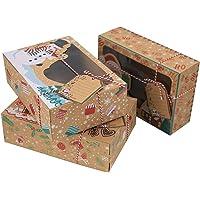 QOTSTEOS 12 stks Kerst Donut en Cookie Gift Dozen, Verpakking Bruin Papier Clear Window Candy Bakery Gift Kerst Koekje…