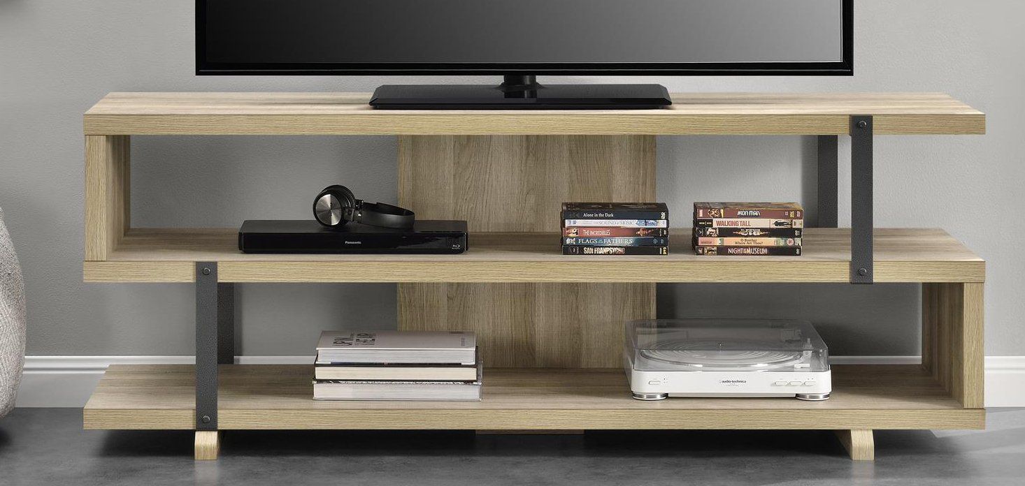 Ameriwood Home Ryker TV Stand for TVs up to 70'', Brown Oak
