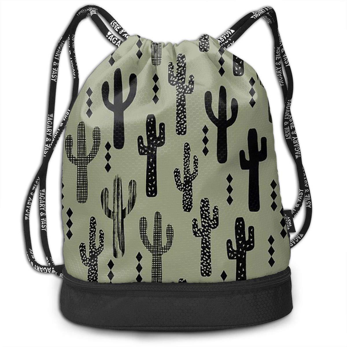 Gymsack Cactus Light Green Print Drawstring Bags Simple Bundle Pocket Backpack Gym Bags Accessories