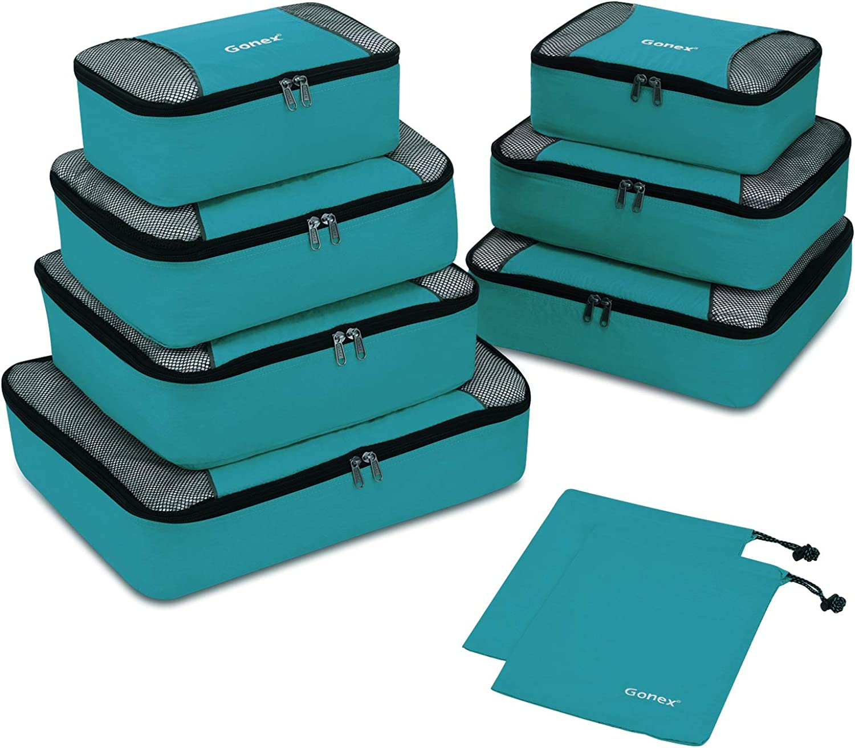 Gonex Travel Packing Cubes, 5 Set / 9 Set(XL/L/M/S/Shoe Bag) Travel Luggage Organizers
