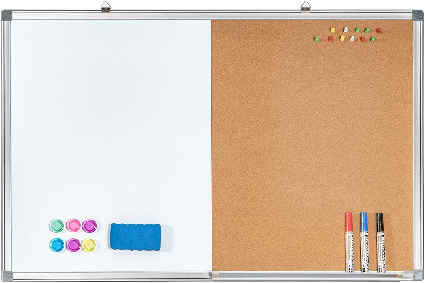 Combination White Board Bulletin Cork Board 24 X 18 Whiteboard Magnetic Combo Dry Erase Board With Aluminum Frame Hanging Message Board Wall Mounted For Homeschooling Office Classroom Office Products