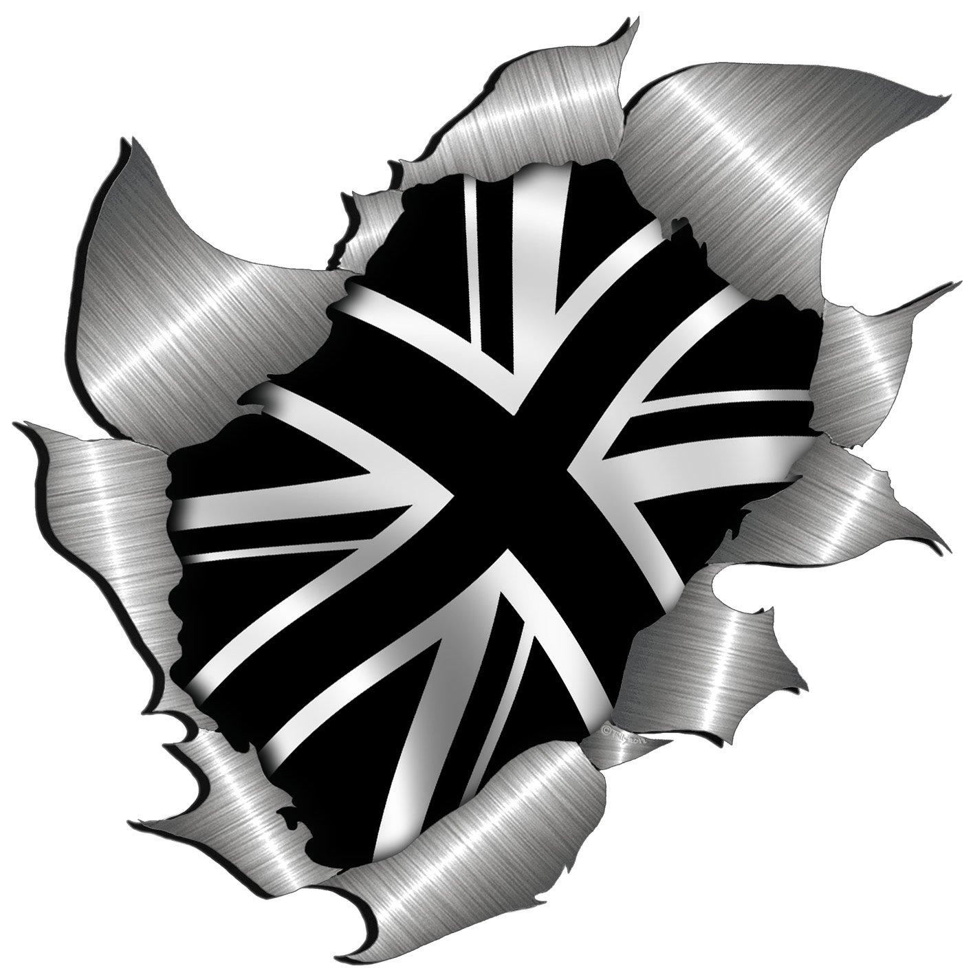 metal rip open,British Black union jack flag sticker.150mm