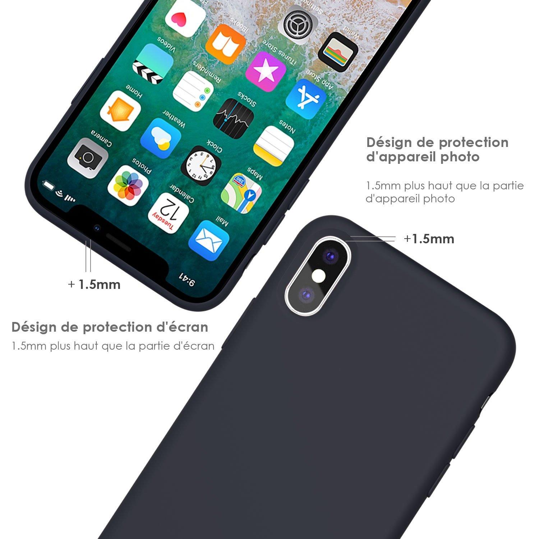 Coque iPhone X / 10 , JASBON Coque Silicone Liquide Anti-rayure avec Protecteur d\'écran Gratuit, Housse Protection Silicone Anti-patinage Gel Case de Style Classique pour iPhone X / 10 – Noir