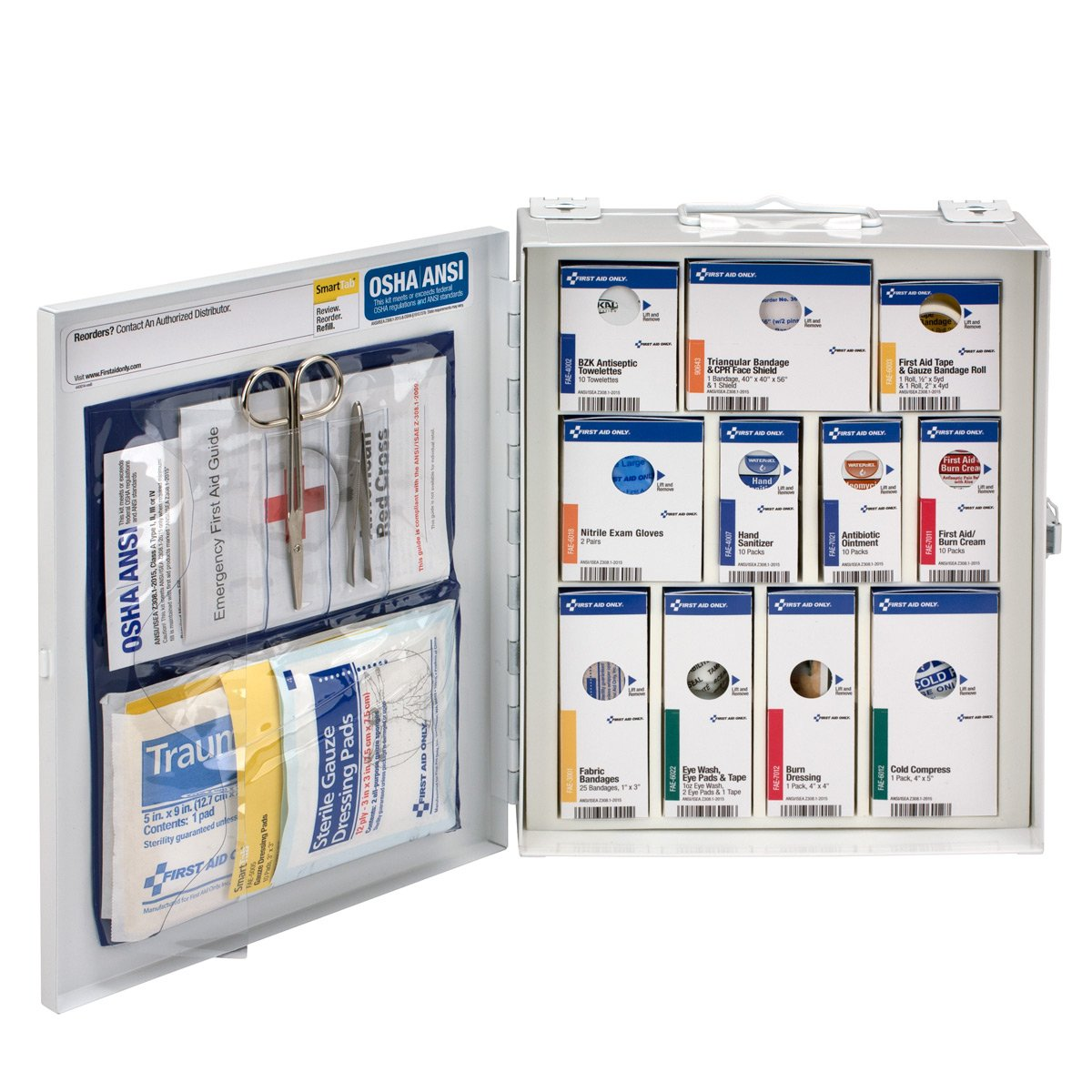 First Aid Only 25 Person Medium Metal SmartCompliance Cabinet without Medications, ANSI/OSHA (90578)