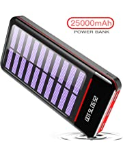 RLERON 25000mAH Portable Phone Charger Solar Power Bank External Battery with Three 2.4A outputs, Dual 2.4A Inputs for iPhone Samsung,Tablets and more (battery included),Solar charger