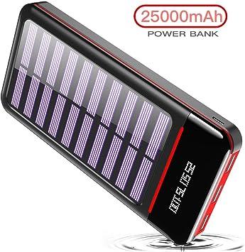 RLERON Batería Externa Cargador Solar Portátil 25000mAh, Power ...