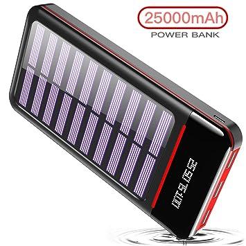 RLERON Power Bank Cargador Solar Portátil 25000mAh, Batería Externa Ultra Capacidad con USB C & Micro 2 Entradas y 3 Puertos de Salida para ...