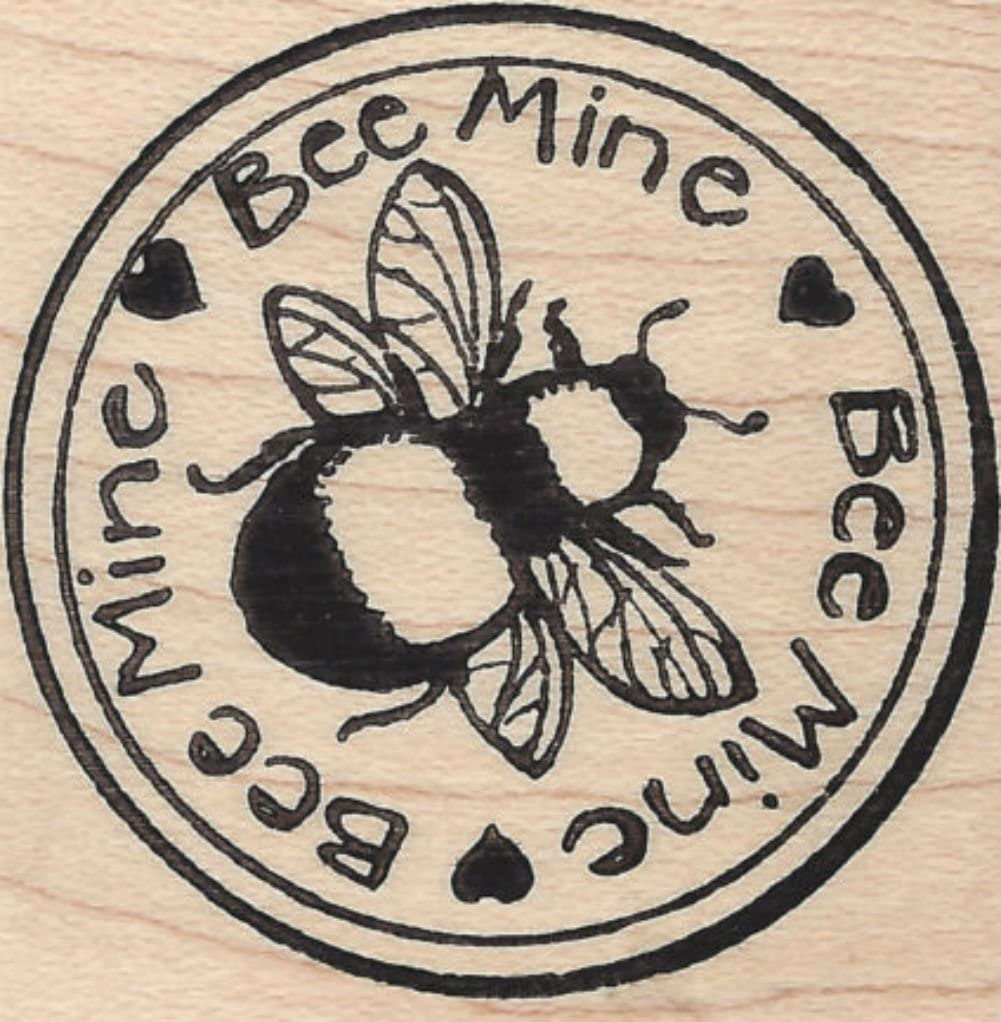 Cute Valentines Humor Bee Mine Insect Hearts Scene Round Shaped Genuine Wood Mounted Rubber Inking Stamp {Single Count} Unique /& Custom 2 Inches