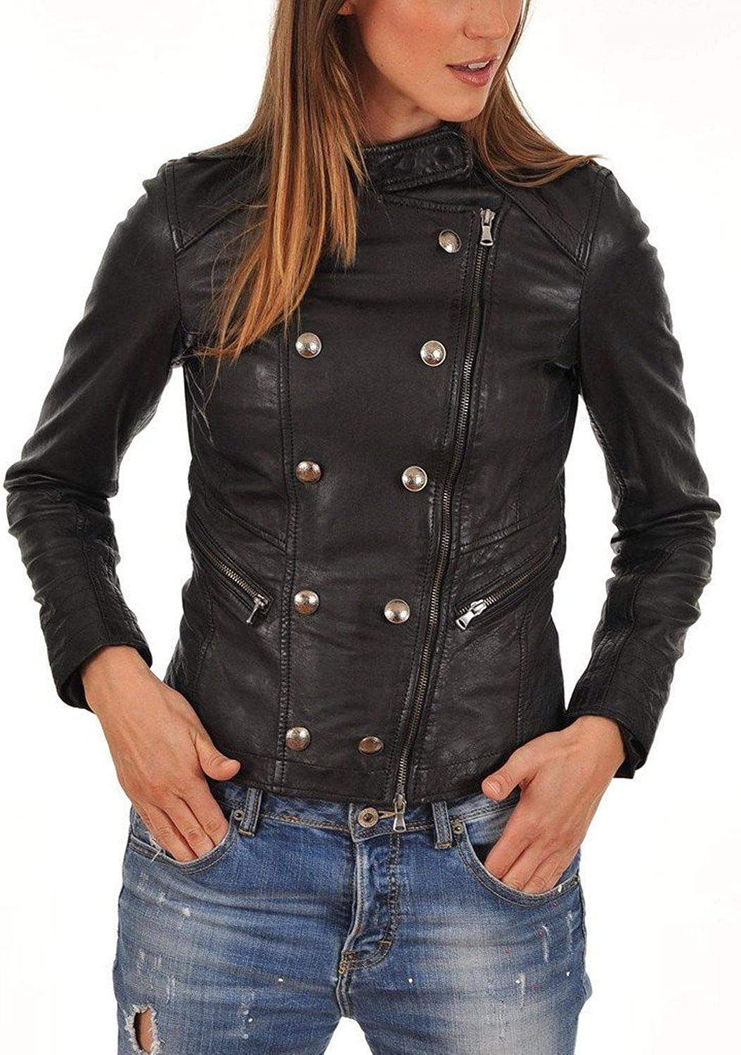 Pristine Leather Womens Real Lambskin Leather Black Blazer Coat Jacket WJ-015