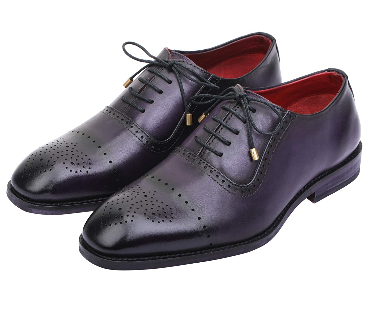 Purple Lethato Wingtip Brogue Oxford Handcrafted Men's Genuine Leather Lace up Dress shoes