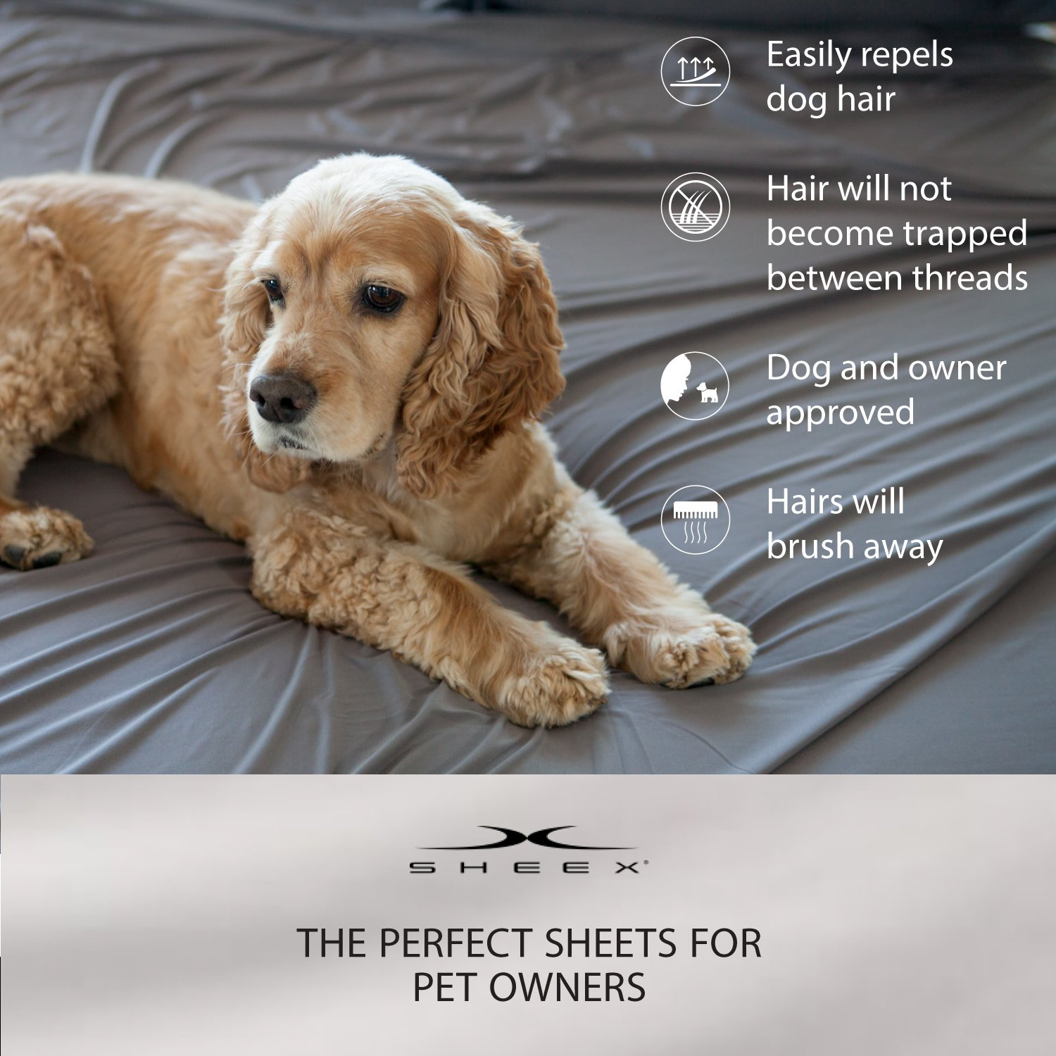 SHEEX DRIRELEASE Sheet Set with 2 Pillowcases, Silky-Smooth Fabric to Help Promote a Better, Cooler Night's Sleep, Charcoal (Full)