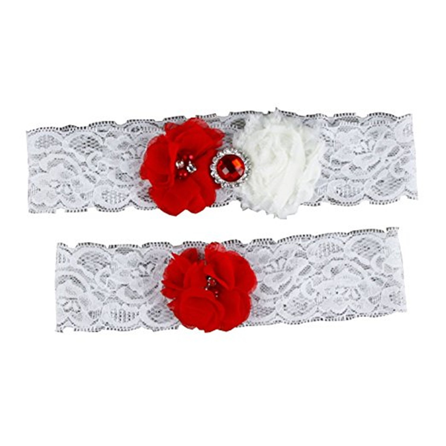Kawayi Maidian Women's Lace Wedding Bridal Garter Set 2 Piece with Flowers and Pearls
