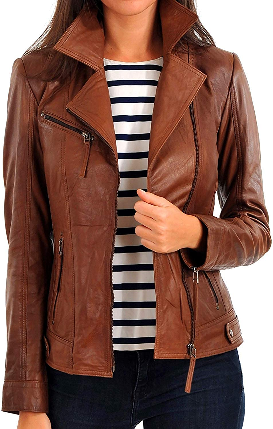 Brown45fc DOLLY LAMB 100% Leather Jacket for Women  Slim Fit & Quilted  Moto, Bomber, Biker Winter Casual Wear