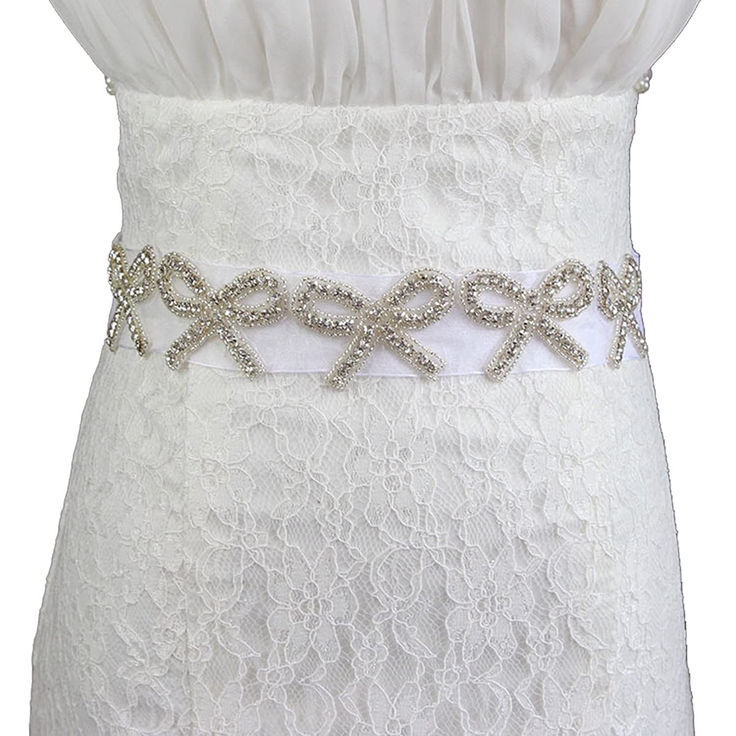 E-Clover Bridal Bowknot Crystal Beaded Rhinestone Wedding Dress Sash Belt