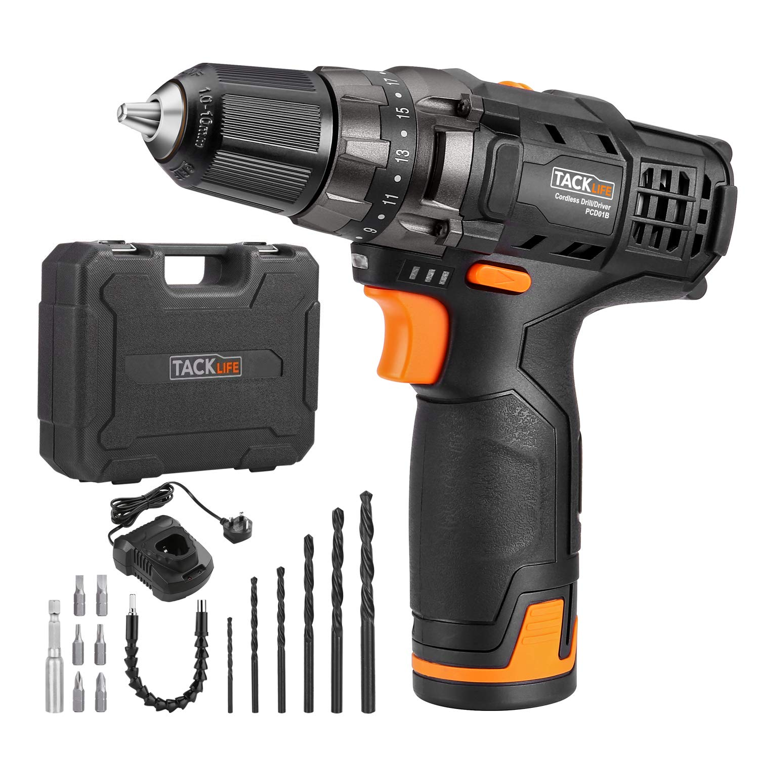 Tacklife Lithium-ion Battery Pack, PPK01B 12V 2000mAh Lithium Ion Cordless Drill Battery and 100-240V Wide Voltage Charger PPK01B-UK