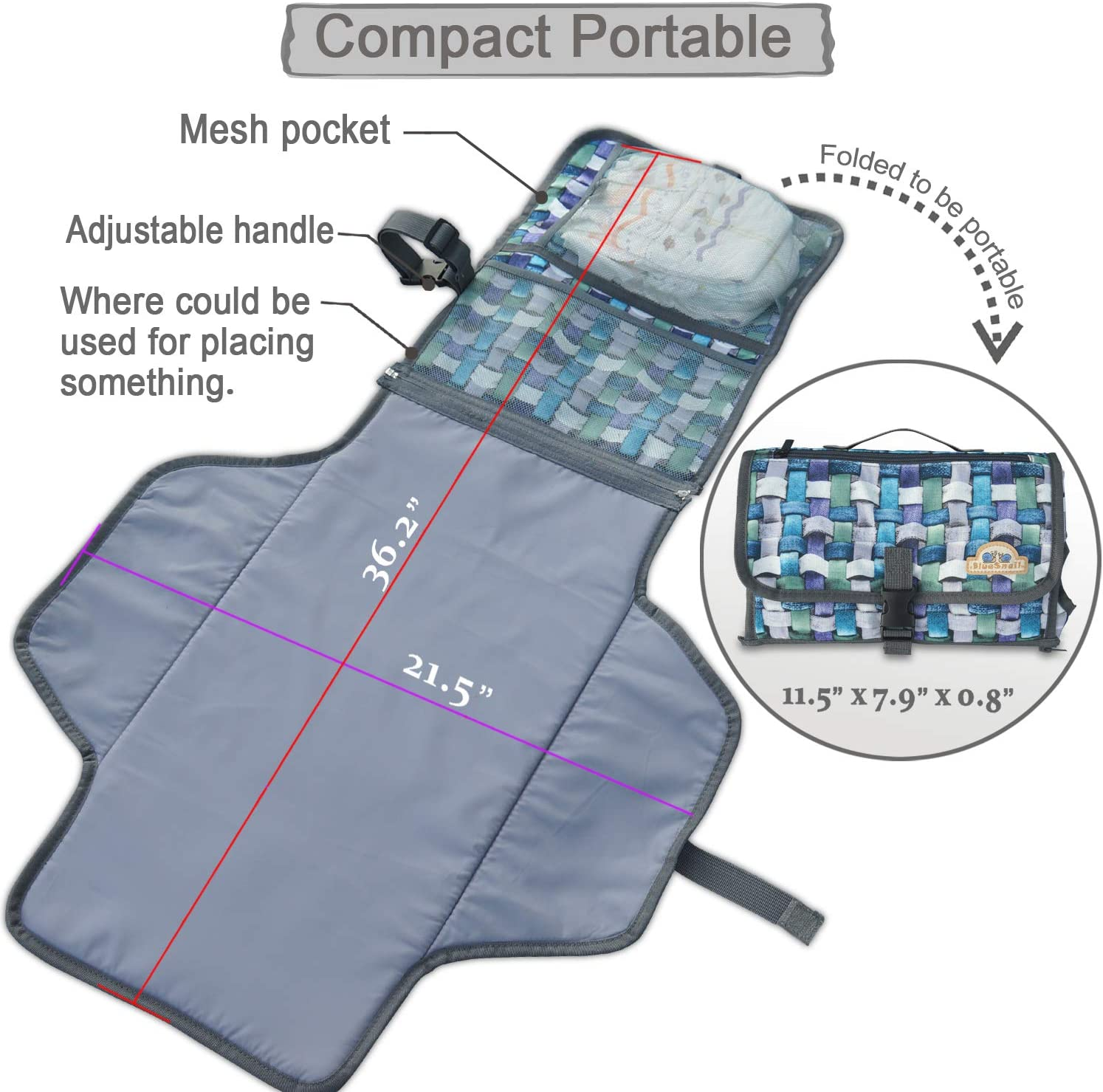 Rosy+Gray BlueSnail Portable Changing Pad,Diaper Clutch,Lightweight Travel Station Kit for Baby Diapering