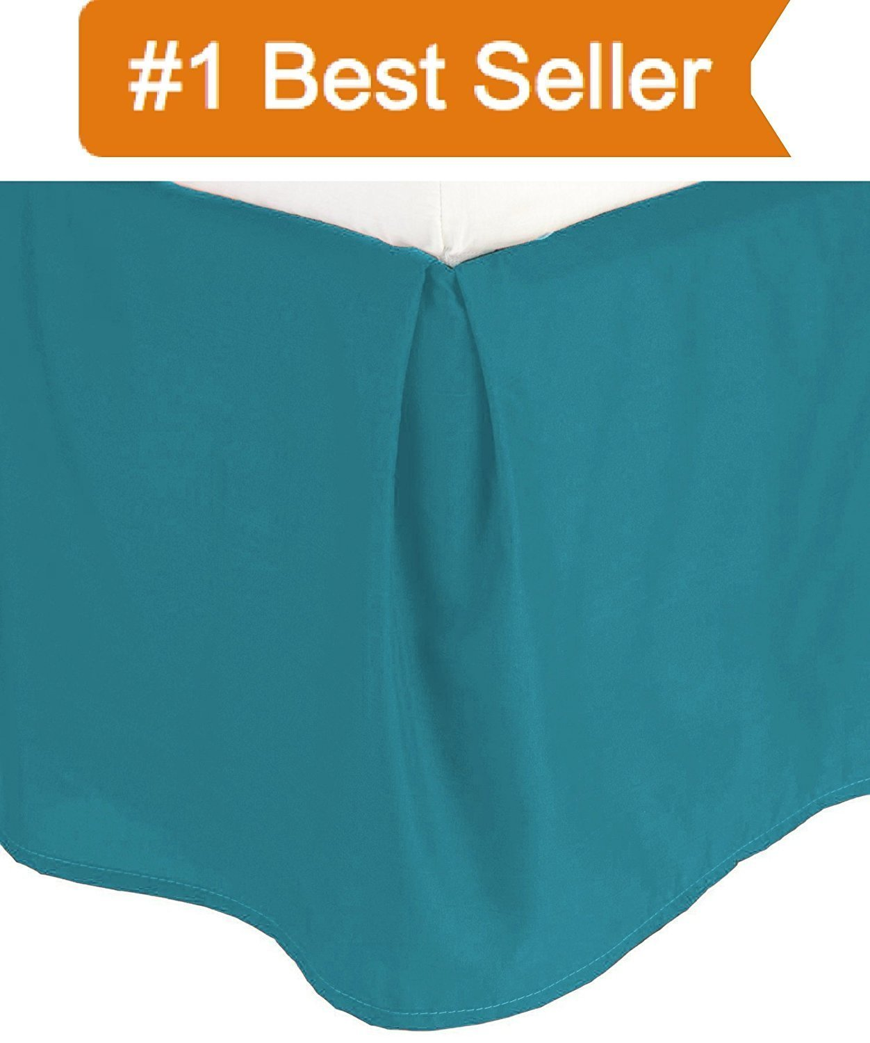 Hotel Quality 10'' Drop Length 600TC 1PC Pleated Bed Skirt 100% Egyptian Cotton 600 Thread Count {Queen, Teal Solid}