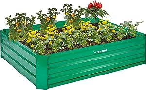 VIVOSUN 4x3x1 ft Galvanized Raised Garden Beds with Gloves for Outdoor Gardening